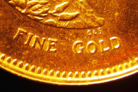monetary devaluation: Micro Photo of a Gold Coin Stock Photo