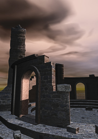 ruin: Digital visualization of a ruin Stock Photo