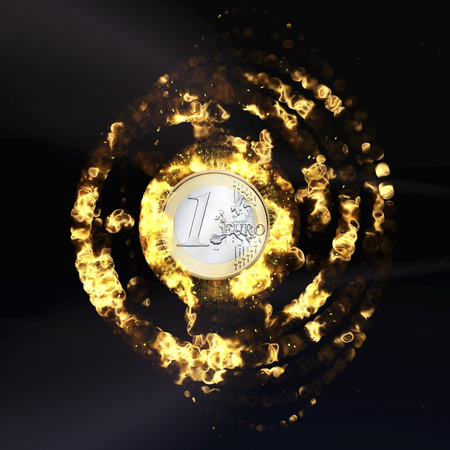 euro area: Rendering of a burning Euro Coin Stock Photo