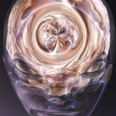 surrealist: Digital visualization of a human brain Stock Photo