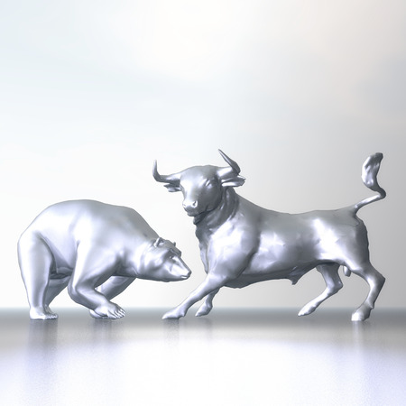 share prices: Digital Illustration of Bull and Bear