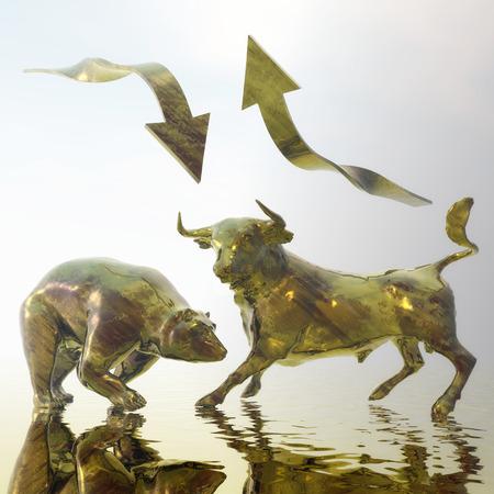 bullish: Digital Illustration of Bull and Bear