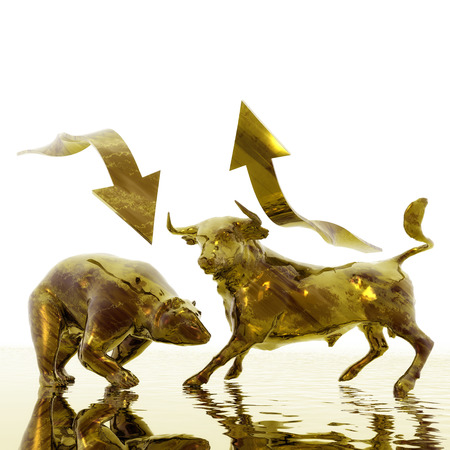 bear market: Digital Illustration of Bull and Bear