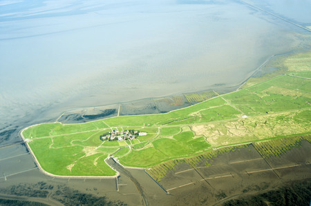 oland: Aerial view from the Schleswig-Holstein Wadden Sea National Park in Germany Stock Photo