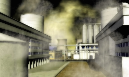 Digital Illustration of a Surreal Industrial Area illustration