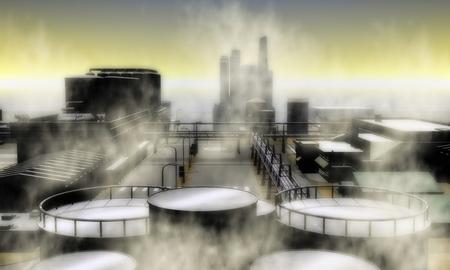 nightmarish: Digital Illustration of a Surreal Industrial Area