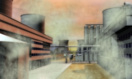 nightmarish: Digital Illustration of a Surreal Industrial Area
