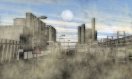 surrealistic: Digital Illustration of a Surreal Industrial Area