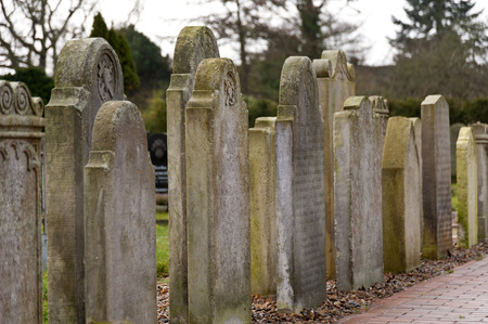 restored: AMRUM, GERMANY - DECEMBER 31, 2014: In Nebel on the North Frisian Island Amrum in Germany the historic Sailor Tombstones have been restored. They are called speaking Grave Stones