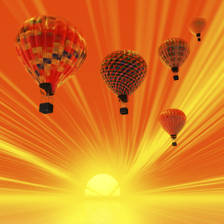 weightless: Digital Illustration of Hot Air Balloons Stock Photo