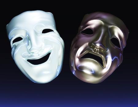 mourn: Digital Illustration of Theater Masks