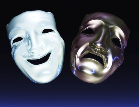 caras felices: Ilustraci�n Digital de Teatro M�scaras Foto de archivo