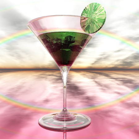 glas 3d: Digital Illustration of a Cocktail Glass Stock Photo