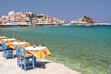 outdoor cafe: Scene in Kokkari on Samos, Greece Stock Photo