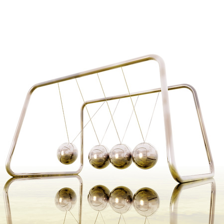 steel balls: Digital Illustration of a Newton Pendulum
