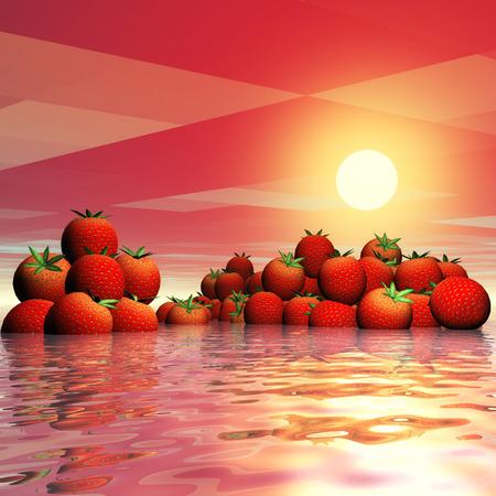 Digital Illustration of Strawberries Stok Fotoğraf