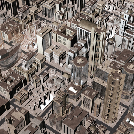 mega city: Digital Illustration of a futuristic City Stock Photo
