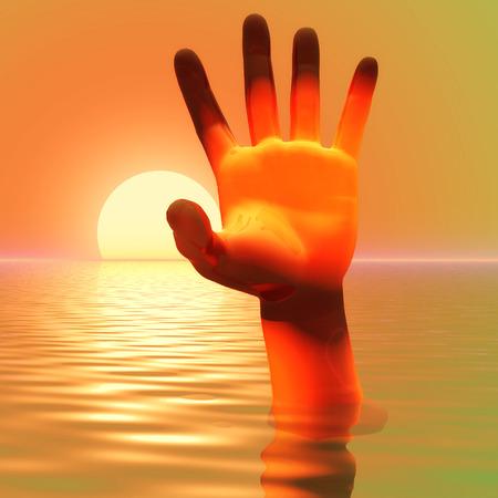 plight: Digital Illustration of a Hand Stock Photo