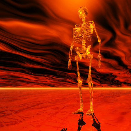 desolation: Digital Illustration of a Skeleton Stock Photo