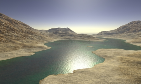 surreal landscape: Digital Illustration of a surreal Landscape Stock Photo