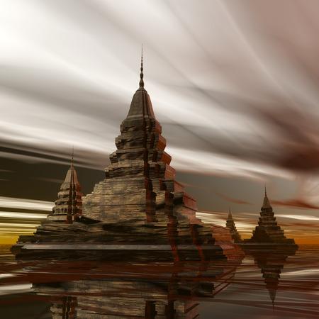 far east: Digital Illustration of a surreal Pagoda