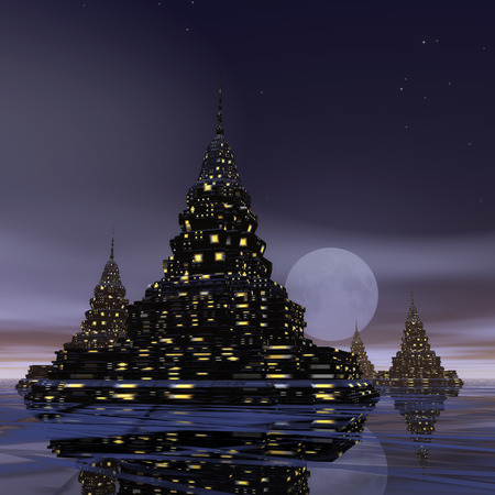 place of worship: Digital Illustration of a surreal Pagoda