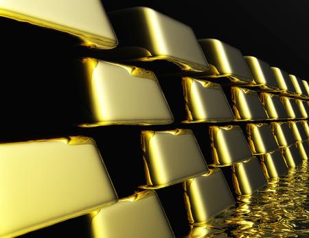 monetary devaluation: Diugital Illustration of Gold Bullions