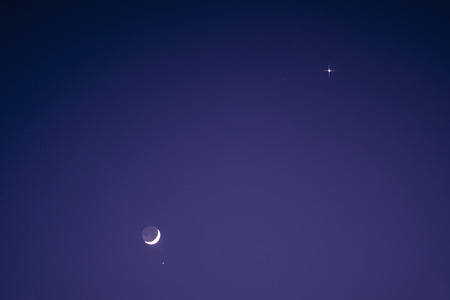 astrophoto: Nightsky with Moon, Venus and Aldebaran over Germany, April 21, 2015 Stock Photo