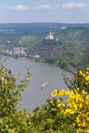 spay: Marksburg Castle at the River Rhine in Germany
