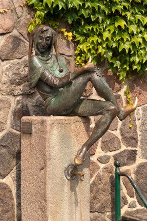 witty: Eulenspiegel Fountain in Mlln, Germany Editorial