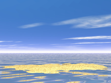 gentle dream vacation: Digital Illustration of Sky over the Sea