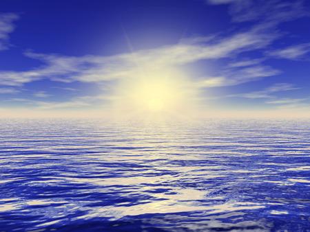 gently blue: Digital Illustration of Sky over the Sea