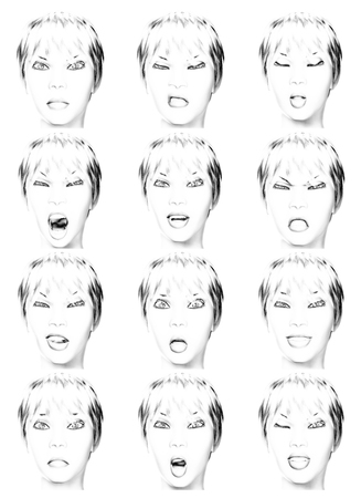 laughing face: Digital Illustration of facial Expressions