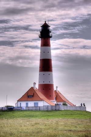 westerheversand lighthouse: Lighthouse Westerheversand in Westerhever, Germany Stock Photo