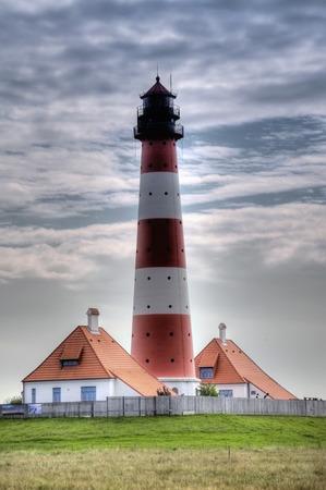 westerheversand: Lighthouse Westerheversand in Westerhever, Germany Stock Photo