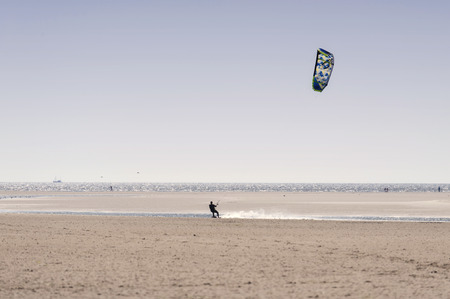kiting: On the Beach of St. Peter-Ording in Germany