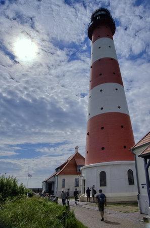 westerheversand: Lighthouse Westerheversand in Westerhever, Germany Editorial