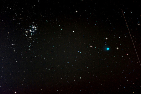 starfield: Starfield with Comet Lovejoy, Falling Star and Pleiades, Jan. 17, 2015 in Germany