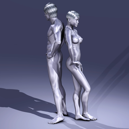 3d nude: Digtal 3D Illustration of nude Man and Woman