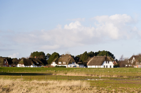 thatched roof: Thatched Roof Houses on Amrum in Germany Stock Photo