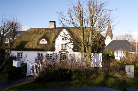 thatched: Thatched Roof House on Amrum in Germany