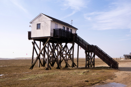 stilt house: On the Beach of St. Peter-Ording in Germany