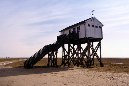 stilt house: On the Beach of St. Peter-Ording in Germany