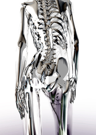 radiograph: Digital visualization of a glassy female body Stock Photo
