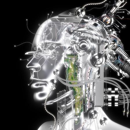 cybernetics: 3D Illustration; 3D Rendering of a Cyborg