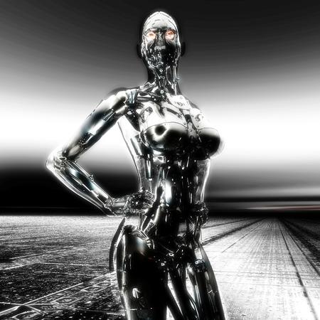 erotic fantasy: 3D Illustration; 3D Rendering of a Cyborg