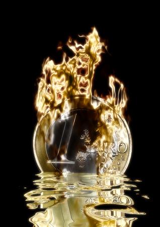 monetary devaluation: Digital Visualization of a burning Euro