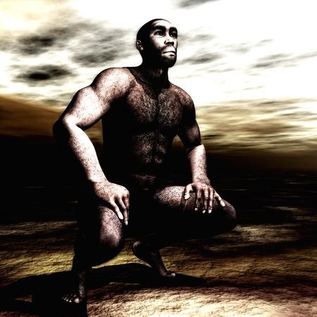 stoneage: 3d Illustration of a Homo Erectus