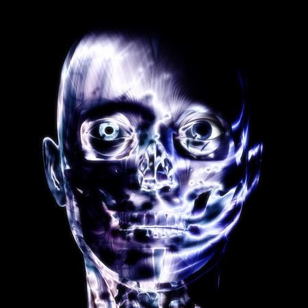 schizophrenic: 3D illustration, 3d Rendering of a human Skull Stock Photo