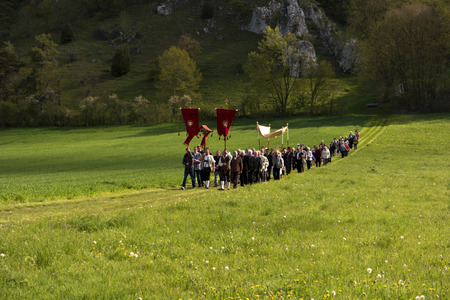 the ascension: Ascension Day Procession in Bavaria in Germany Editorial